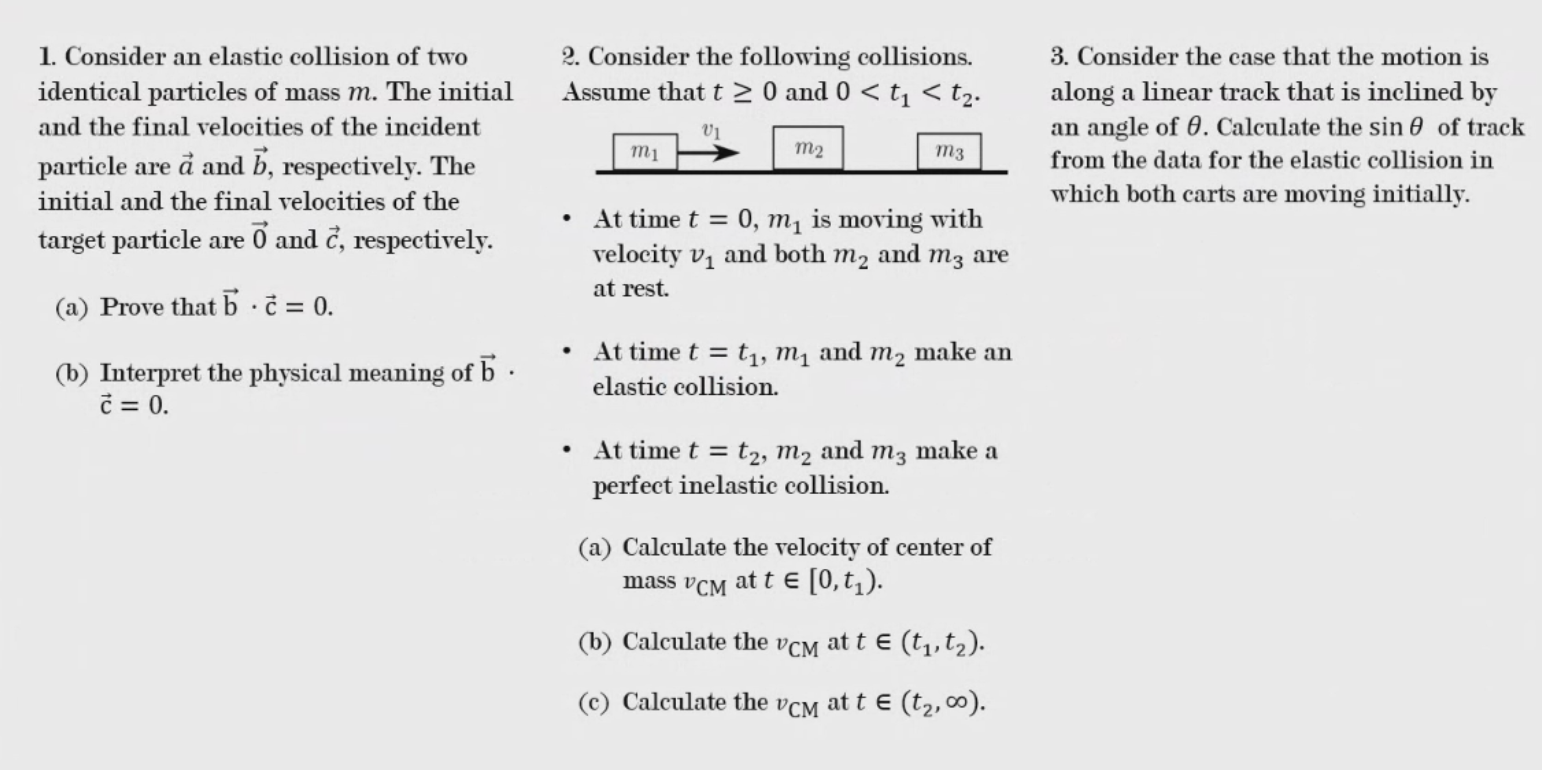Solved 2 Consider The Following Collisions Assume That