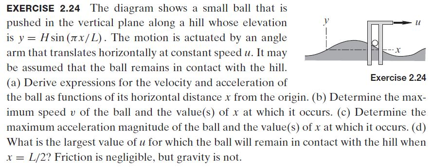 EXERCISE 2.24 The diagram shows a small ball that is pushed in the vertical plane along a hill whose elevation is y = H sin (