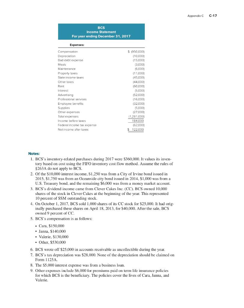 C-16 Appendix C CORPORATE TAX RETURN PROBLEM 2 Req
