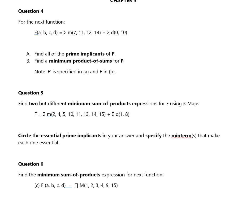 Solved: Find Two But Different Minimum Sum-of-products Exp ... on