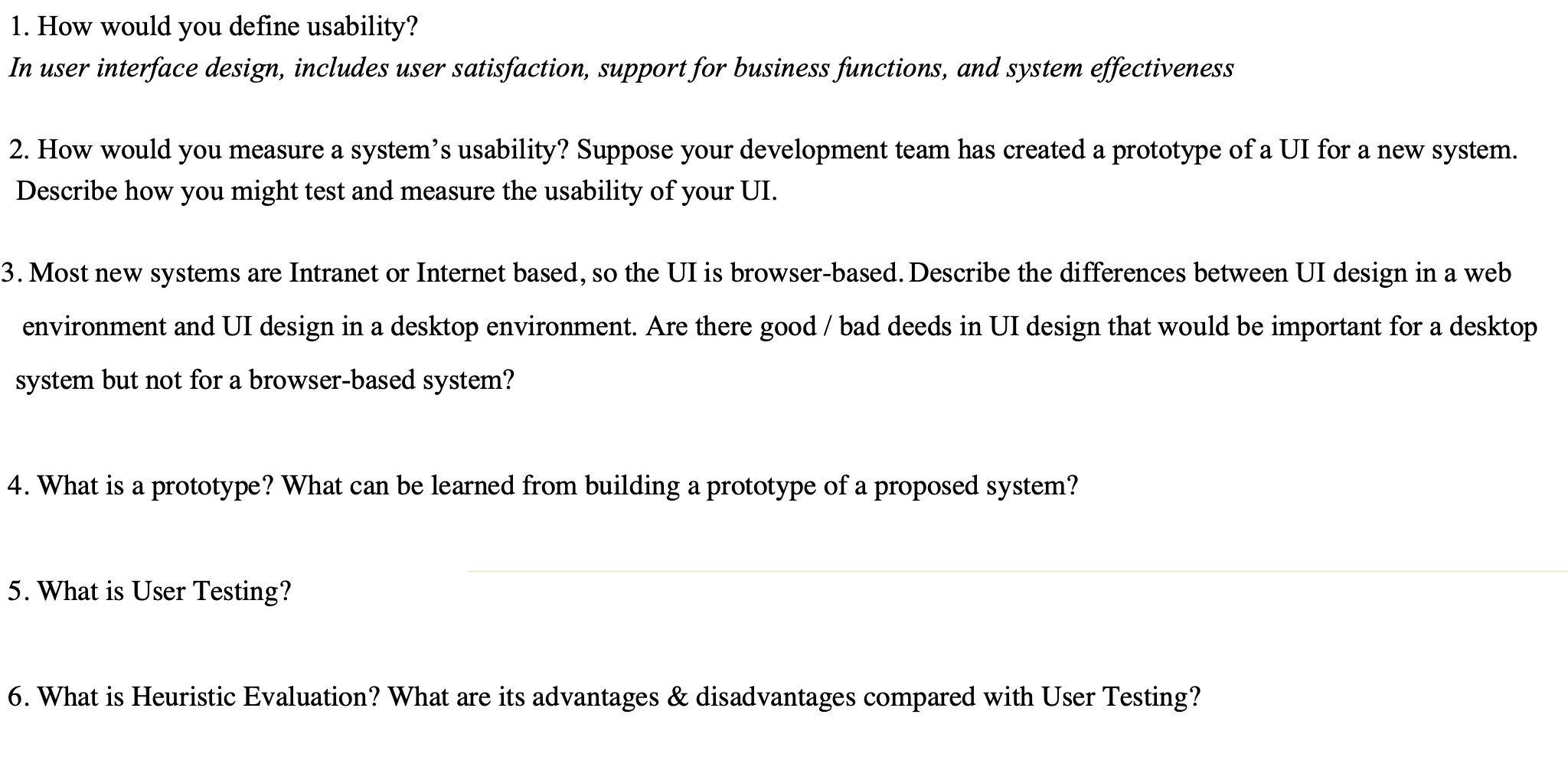 Solved 1 How Would You Define Usability In User Interfa Chegg Com