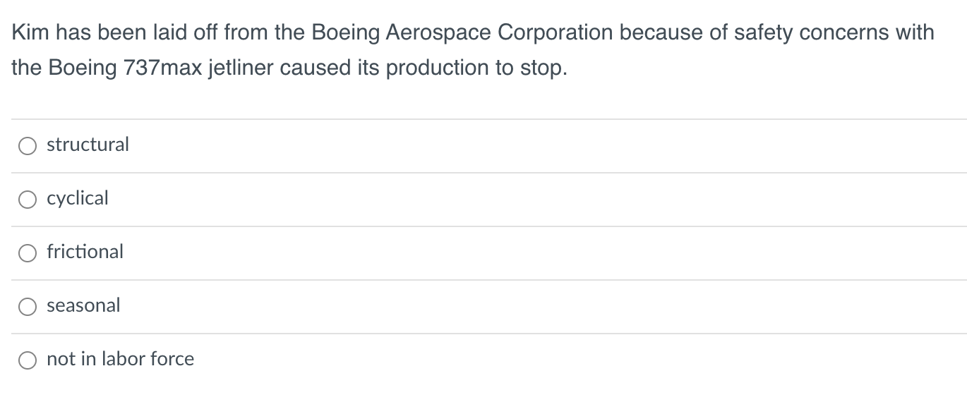 Kim has been laid off from the Boeing Aerospace Corporation because of safety concerns with the Boeing 737max jetliner caused