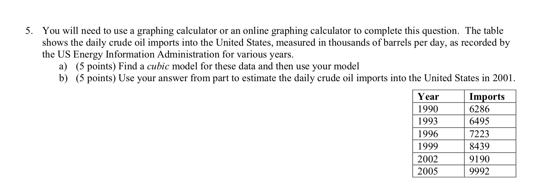 Solved 5 You Will Need To Use A Graphing Calculator Or