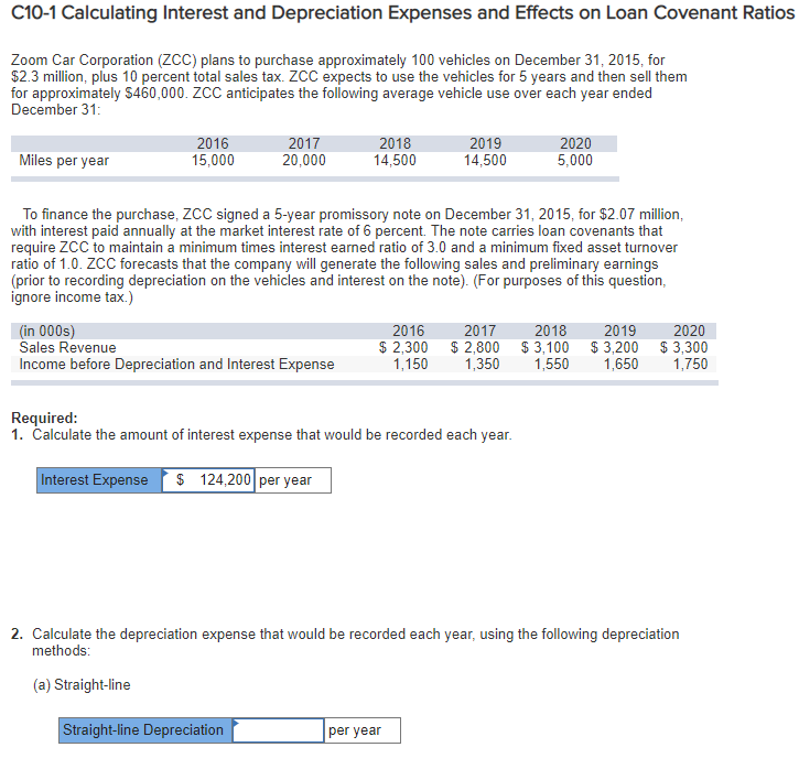 Solved: C10-1 Calculating Interest And Depreciation Expens
