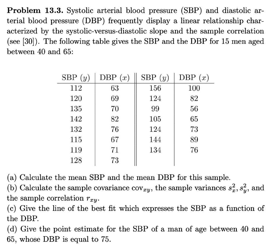 Solved Problem 13 3 Systolic Arterial Blood Pressure Sb Chegg Com
