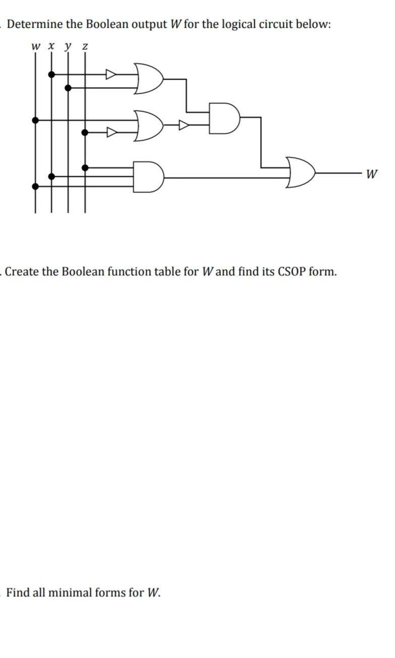 Solved Determine The Boolean Output W For The Logical Cir Chegg Com