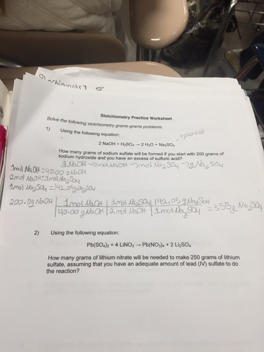 Solved Stoichiometry Practice Worksheet Solve The Followi