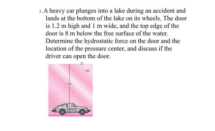 1. A heavy car plunges into a lake during an accident and lands at the bottom of the lake on its wheels. The door is 1.2 m hi
