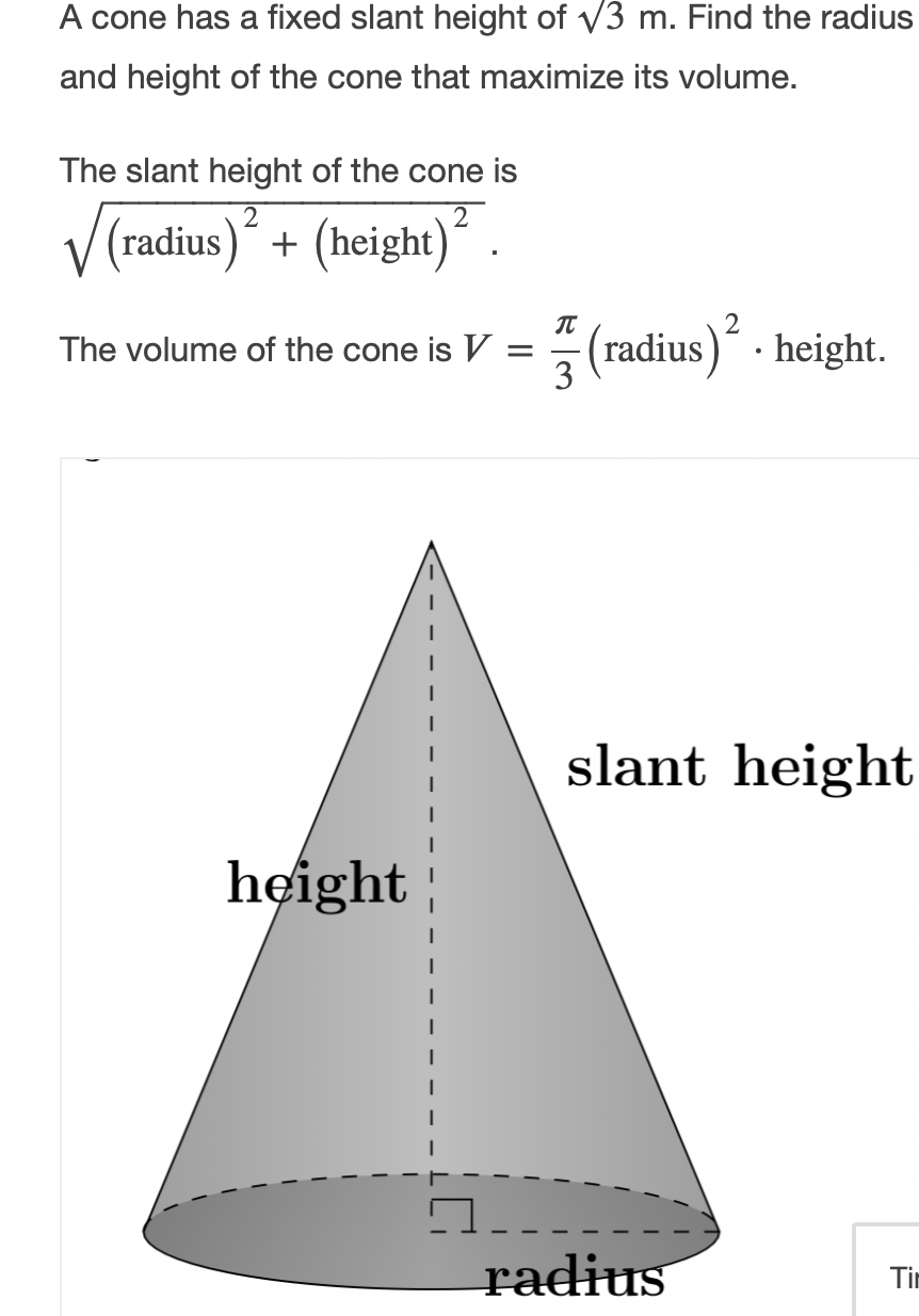 Solved A cone has a fixed slant height of V27 m. Find the  Chegg.com
