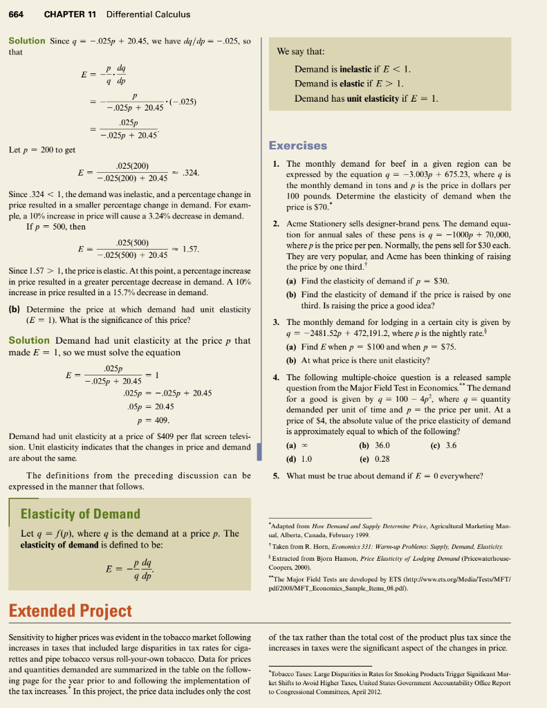 Solved Case Study 11 Price Elasticity Of Demand The Quant