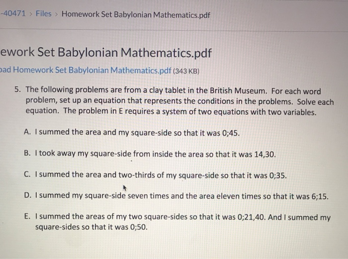 Solved: Files> Homework Set Babylonian Mathematics pdf -40
