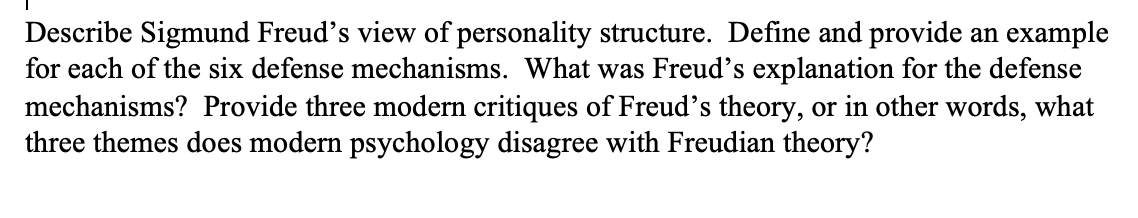 Solved Describe Sigmund Freud S View Of Personality Struc