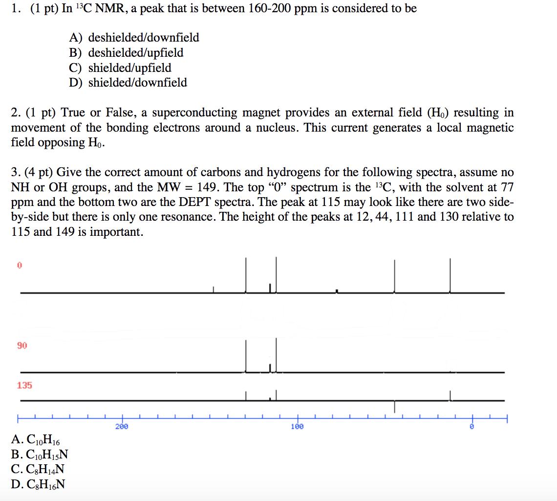 Solved 1 1 Pt In 13c Nmr A Peak That Is Between 160 2