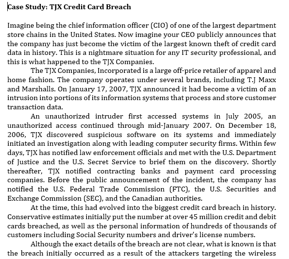 security breach at tjx case study solution