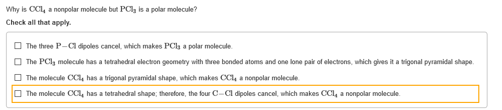 Solved Why Is Ccl4 A Nonpolar Molecule But Pcl2 Is A Pola Chegg Com