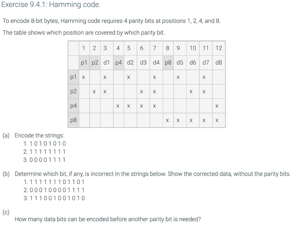 Solved: Exercise 9 4 1: Hamming Code  To Encode 8-bit Byte
