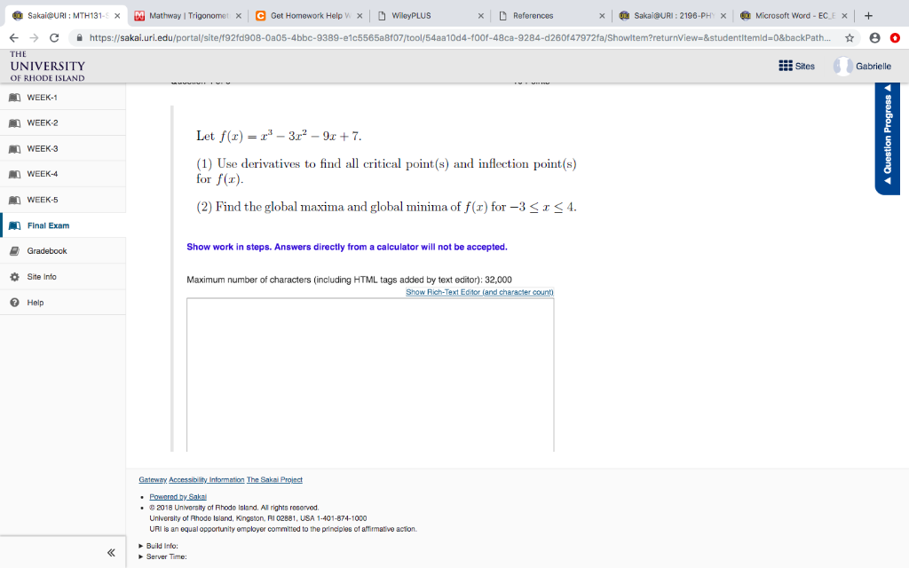Solved: Sakai@URI: MTH131-S Mathway | Trigonomet Microsoft ... on