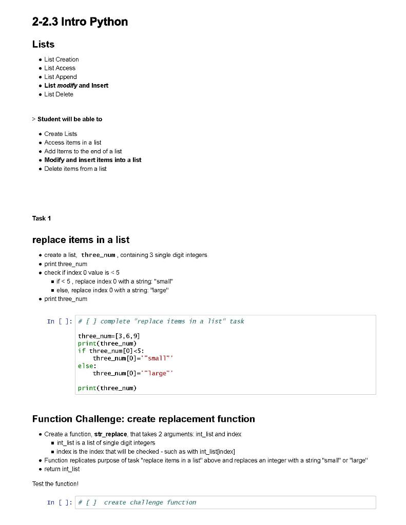 Solved: 2-2 3 Intro Python Lists • List Creation List Acce