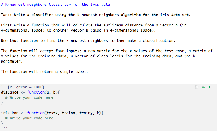 K-nearest Neighbors Classifier For The Iris Data    | Chegg com