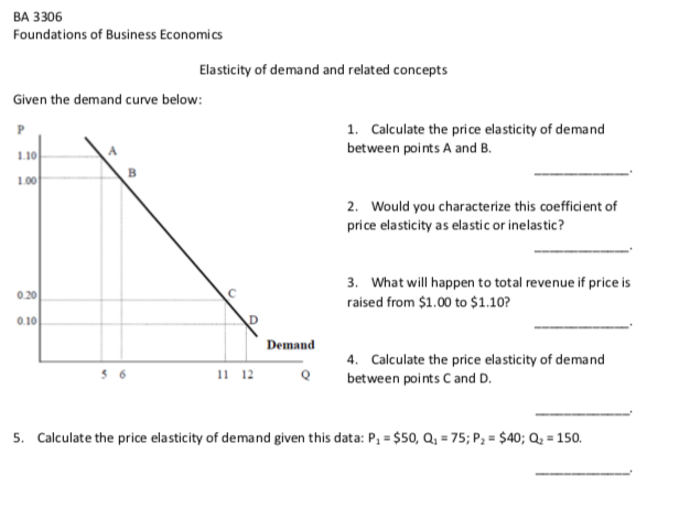 Solved Ba 3306 Foundations Of Business Economics Elastici
