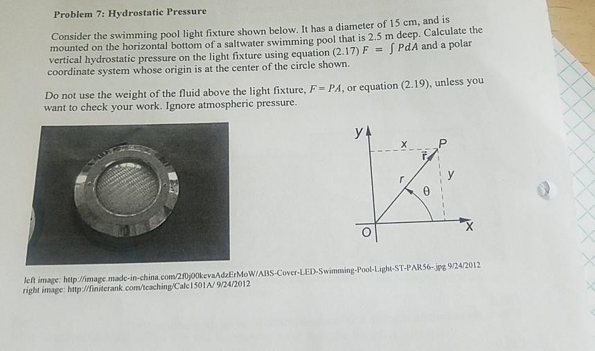 Solved Problem 7 Hydrostatic Pressure Consider The Swimm Chegg Com