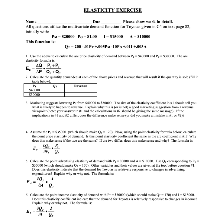 Solved Elasticity Exercise Name Due Please Show Work In D Chegg Com