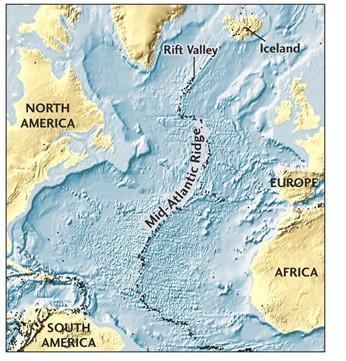 Mid -Atlantic Ridge Rift Valley Iceland NORTH AMERICA EUROPE AFRICA SOUTH AMERICA