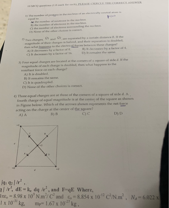 Solved: 10 MCQ Questions (1 0 Mark For Each)  PLEASE CERCL