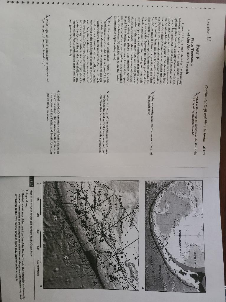 1 1 Exercise 11 Continental Drift and Plate Tectonics 167 What is the range of earthquake depths in the Vicinity of the Aleut