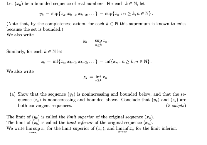 limit supremum and limit infimum of a sequence examples