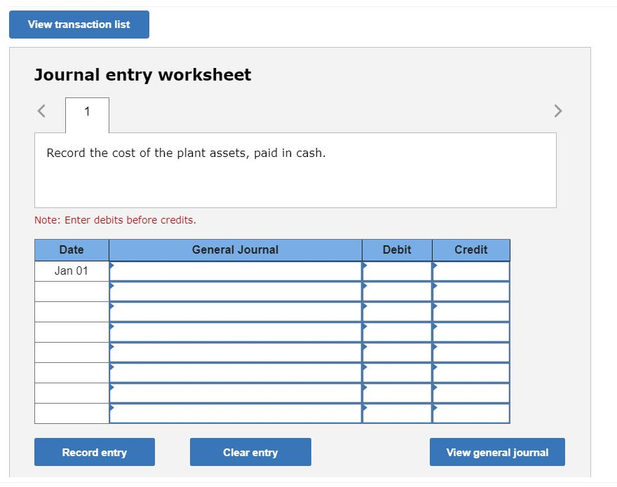 View transaction list Journal entry worksheet Record the cost of the plant assets, paid in cash. Note: Enter debits before cr
