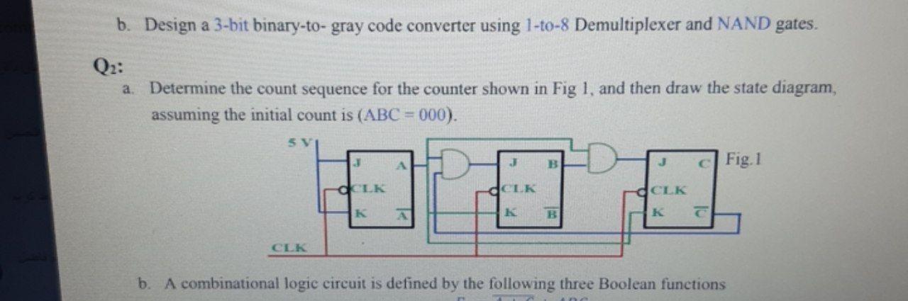 Solved B Design A 3 Bit Binary To Gray Code Converter Us Chegg Com