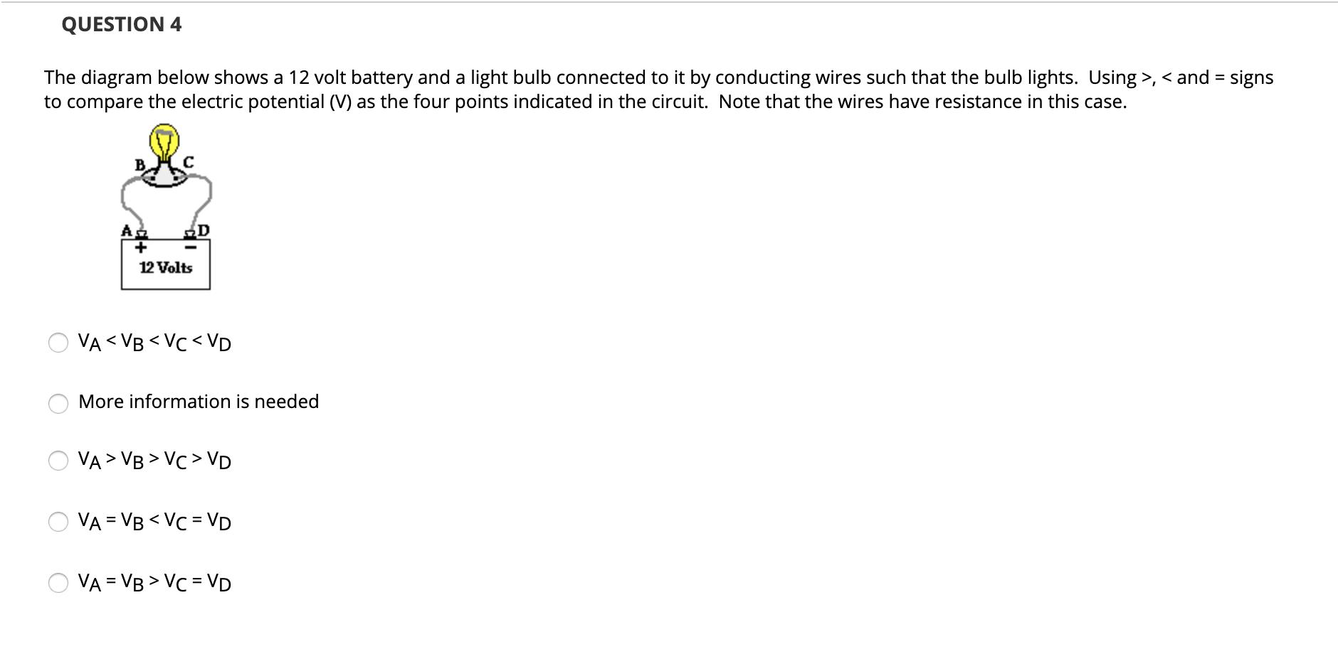Solved Question 2 The Diagram Below Shows A 12 Volt Batte Chegg Com