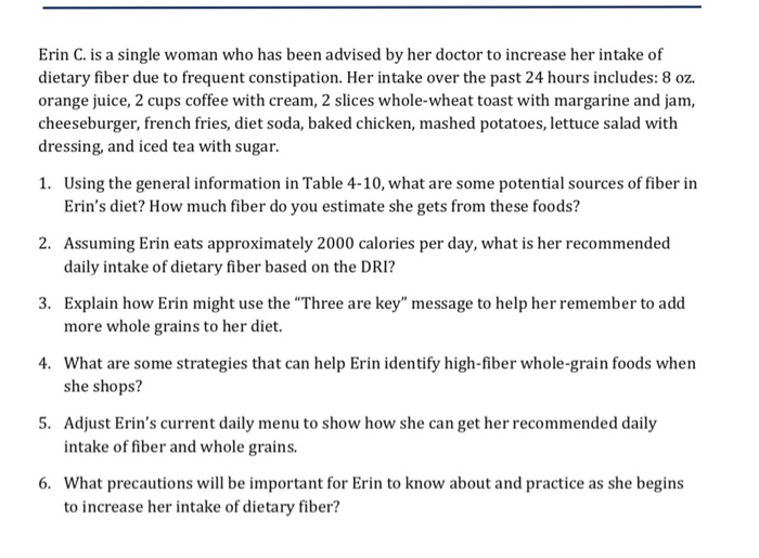 Solved: Erin C  Is A Single Woman Who Has Been Advised By
