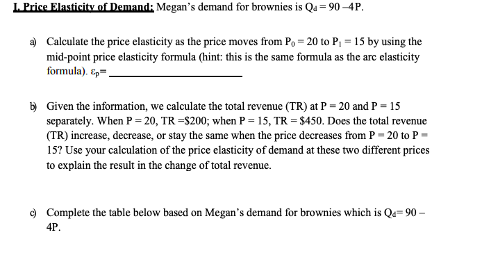 Solved L Price Elasticity Of Demand Megan S Demand For B