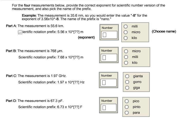 Solved For The Four Measurements Below Provide The Corre