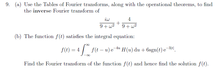 9. (a) Use the Tables of Fourier transforms, along with the operational theorems, to find the inverse Fourier transform of 4