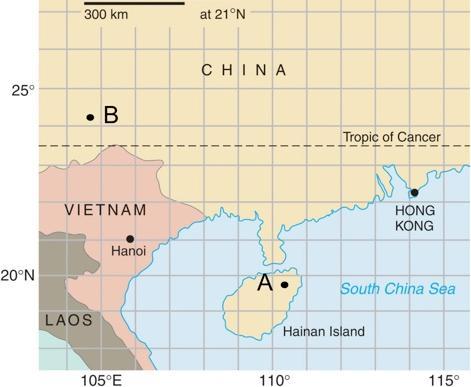 300 km at 21°N CHINA 25° .B Tropic of Cancer - 1 VIETNAM why HONG KONG Hanoi 20°N A. South China Sea LAOS Hainan Island 105°E