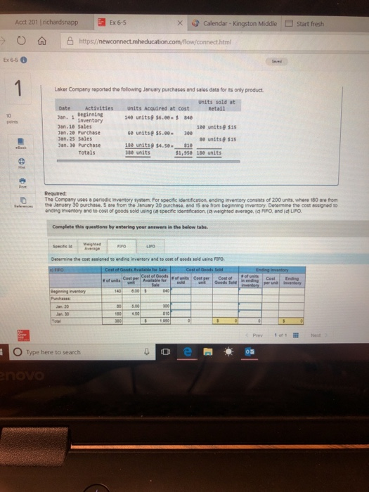 Solved: Acct 201 Richardsnapp Ex 6-5 Calendar- Kingston Mi
