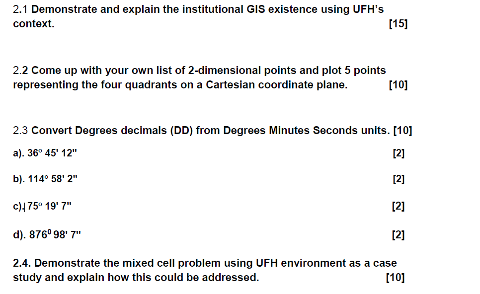 2.1 Demonstrate and explain the institutional GIS existence using UFHs context. [15] 2.2 Come up with your own list of 2-dim