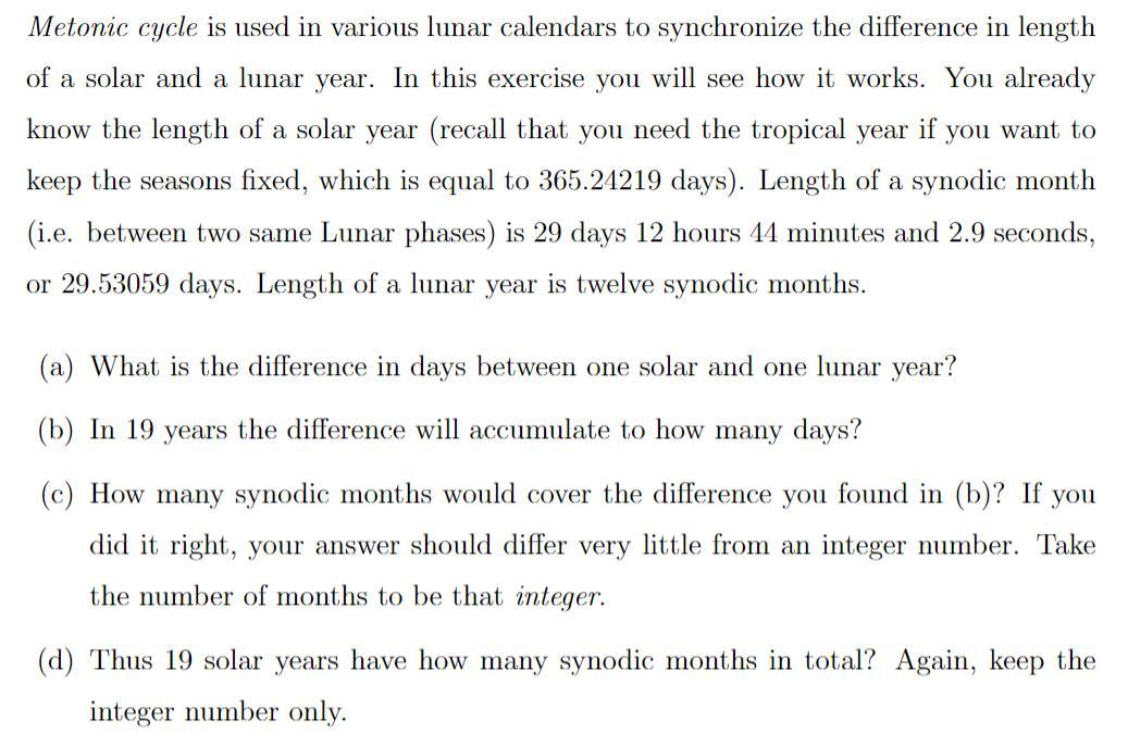 Metonic Cycle Is Used In Various Lunar Calendars T