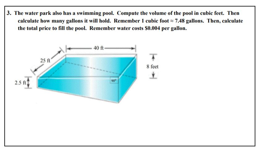 volume of water in a pool