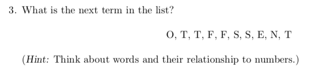 Solved 3 What Is The Next Term In The List O T T F Chegg Com