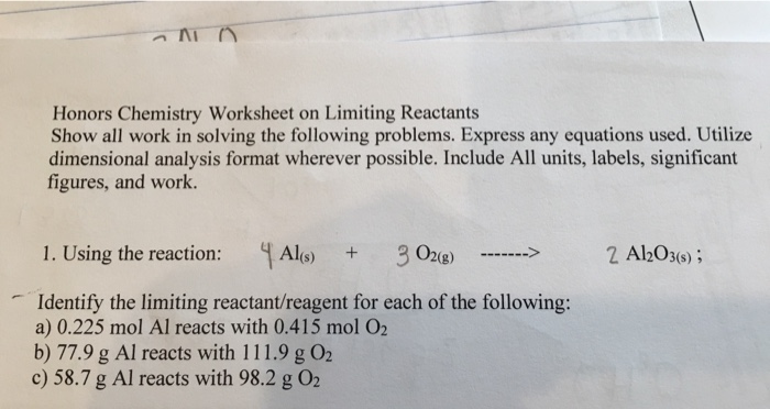 Solved: Honors Chemistry Worksheet On Limiting Reactants S