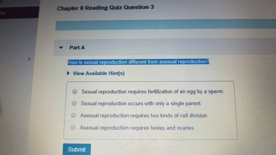 Asexual and sexual reproduction quiz
