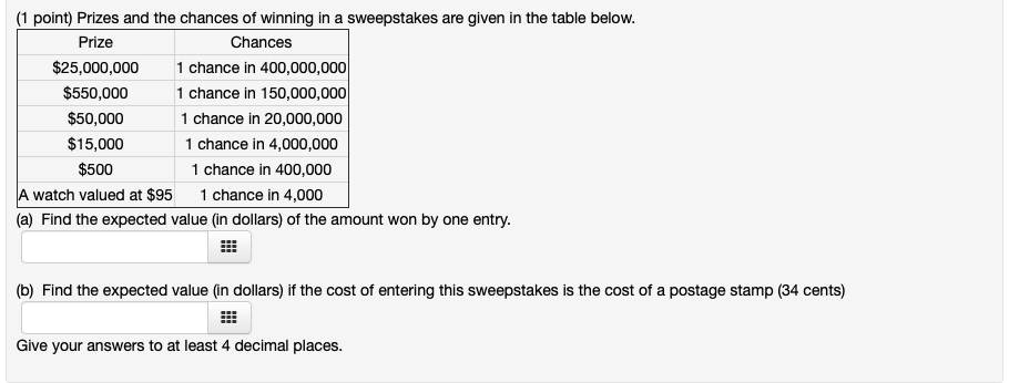 Sweepstakes Answers