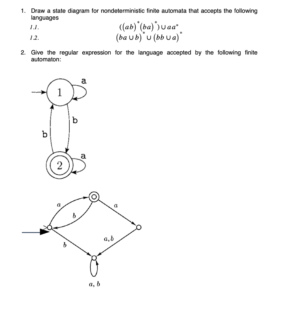 Solved: 1. Draw A State Diagram For Nondeterministic Finit ...