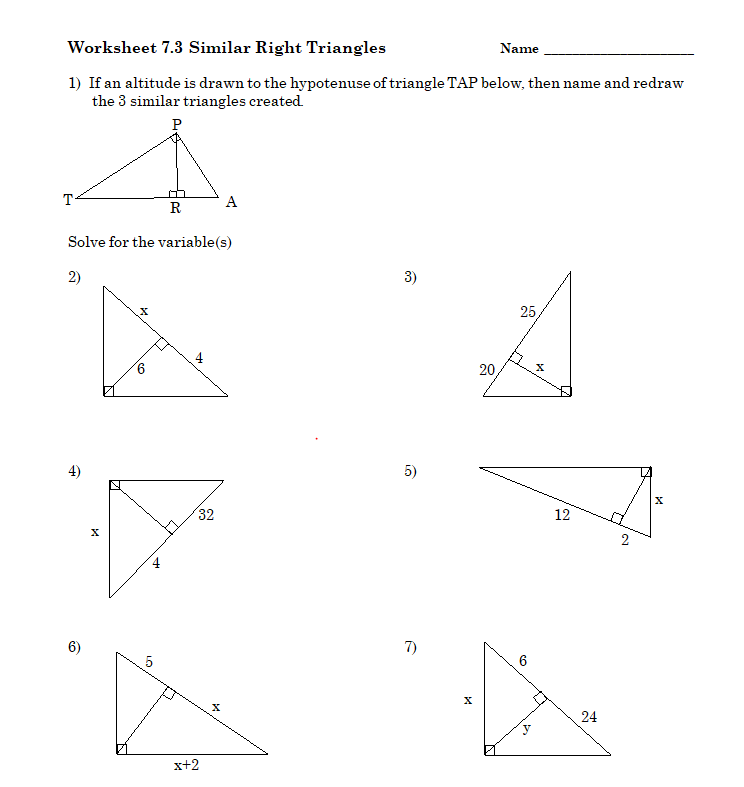 Solved Worksheet 7 3 Similar Right Triangles Name 1 If A Chegg Com