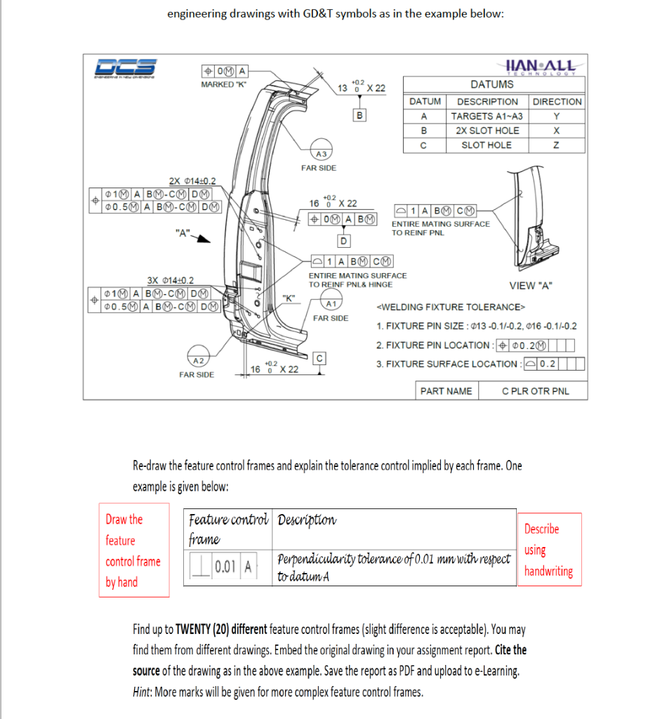 Solved: Engineering Drawings With GD&T Symbols As In The E... | Chegg.comChegg