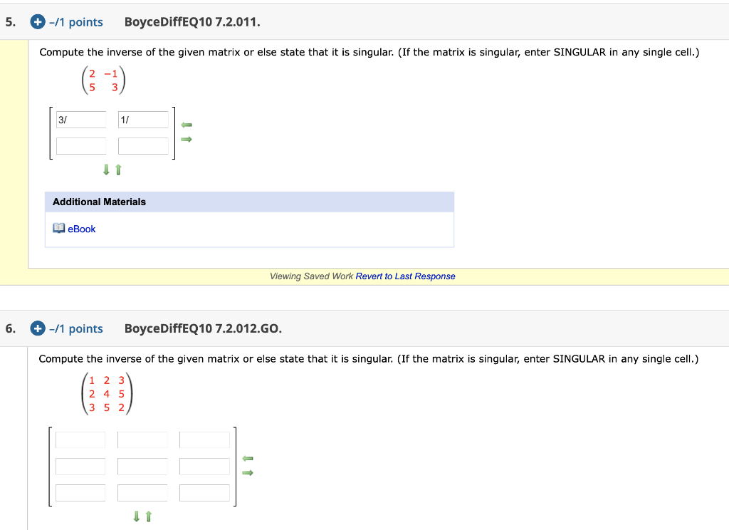 Solved: 5. +-/1 Points BoyceDiffEQ10 7.2.011. Compute The ...